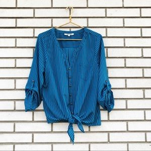 Daniel Rainn Blue Striped Tie Waist Blouse